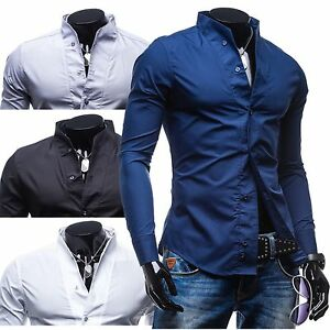 Bolf-5702-Hemden-Herrenhemd-Hemd-Freizeithemd-Classic-Slim-Fit-2B2-Stehkragen