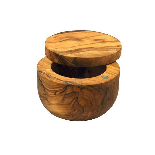 Swissmar Palermo Dual Bin Olive Wood Salt Keeper With Magnetic Swivel Lid