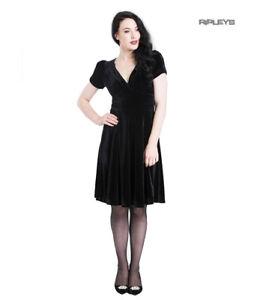 Hell-Bunny-40s-50s-Elegant-Pin-Up-Dress-JOANNE-Crushed-Velvet-Black-All-Sizes