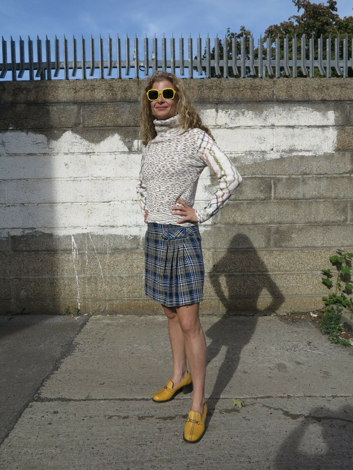 Donna Gonna wollrock rock blu blu blu a quadri 60er True Vintage 60s Wool Skirt checked 7a3662