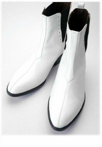 Homme Fait à la main formelle Bottes Blanc Talon Cubain Cuir Véritable   Décontractée Chaussures