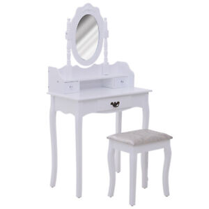 Vanity-Table-Set-Makeup-Table-Rotatable-Mirror-Cushioned-Stool-White