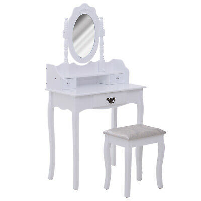 Vanity Table Set Makeup Table Rotatable Mirror Cushioned Stool White