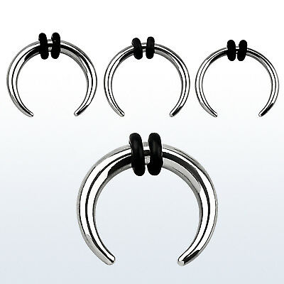 1 PC Surgical Steel RIDGED Buffalo Tapers Septum Pincher with 2 Black O-Rings