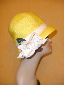 37bf221a0 Details about Yves Saint Laurent YSL Bright Yellow Straw Hat w/ White Trim  & Flower