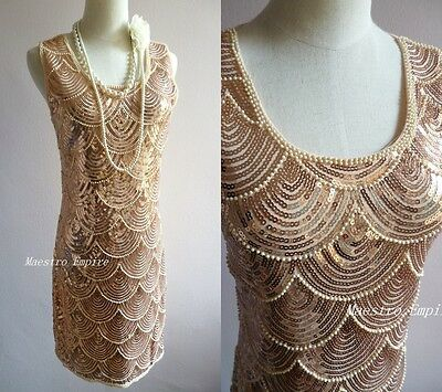 Great Gatsby Art Deco Gold Sequins Vintage Jazzy Mermaid Beads Flapper Dress