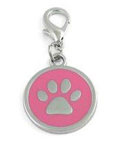 Halsbandanhänger Pfote rosa #15 Schmuck Anhänger Hundemarke 25mm