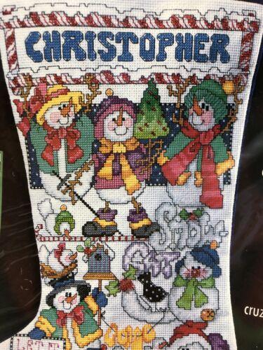 "2001 Bucilla 18/"" Snowman Stocking Counted Cross Stitch Kit # 84638 NIP"