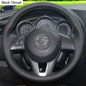 New-DIY-Sewing-on-PU-Leather-Steering-Wheel-Cover-Exact-Fit-For-Mazda-CX-5