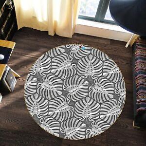 Black White Leaf 3 Non Slip Rug Mat