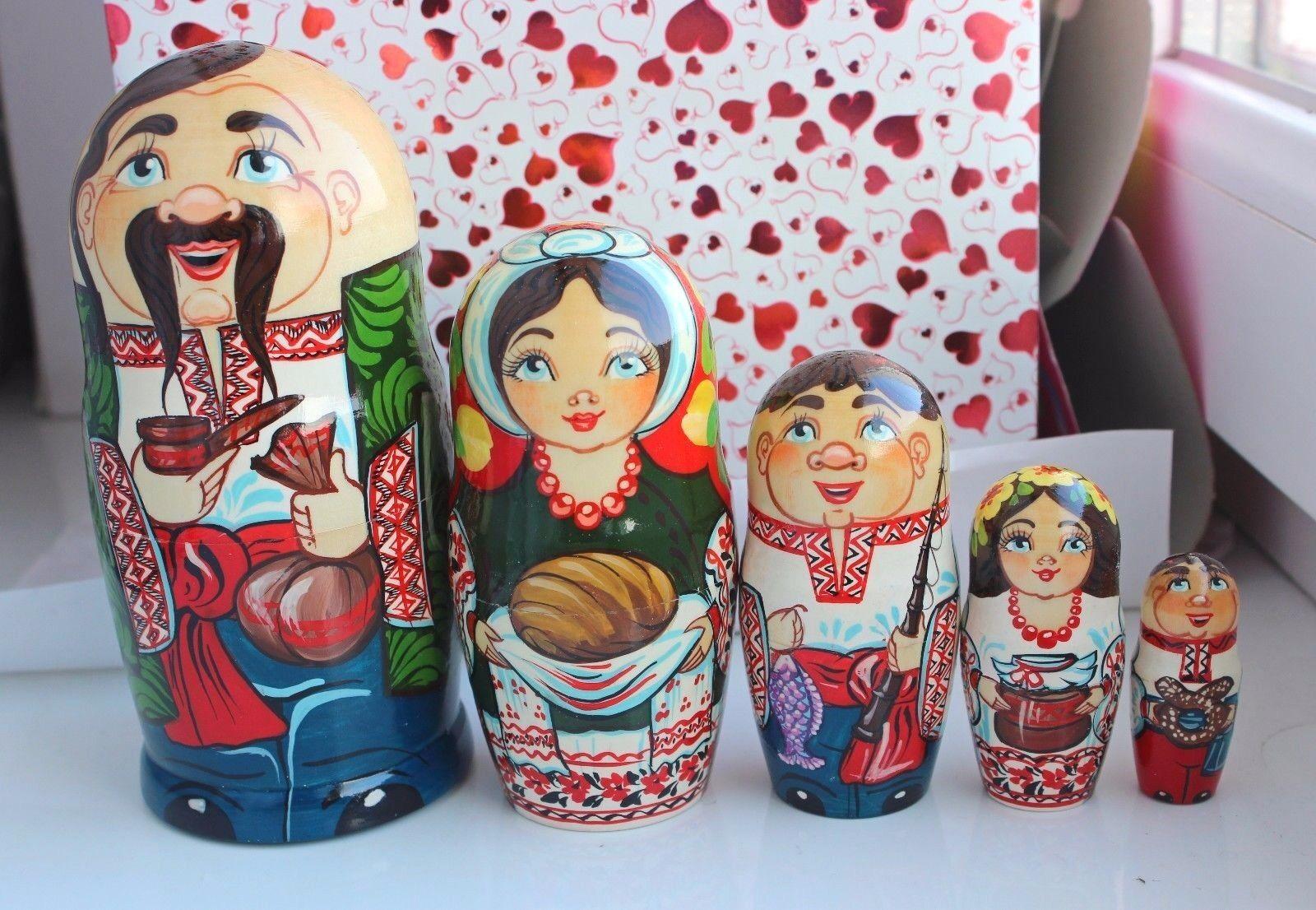 Ukraine Nesting dolls h=16 cm Matryoshka 5pc Ukrainians and nature hand souvenir