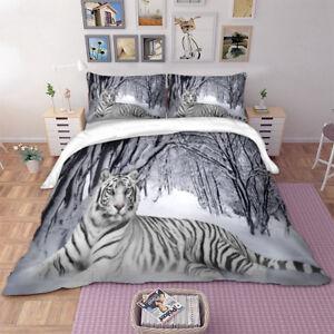 White Tiger Snow Quilt Doona Duvet Cover Set Single/Double/Queen ...