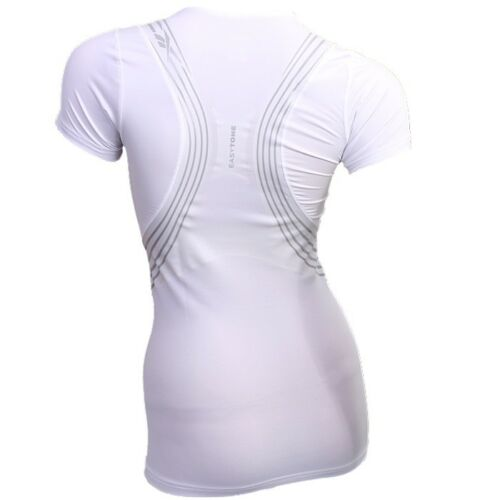 Reebok Easytone taped Blanc Femmes techfit manches courtes shirt xs s m l xl neuf emballage d/'origine