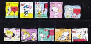 JAPAN-2014-SNOOPY-amp-FRIENDS-PEANUTS-COMIC-82-YEN-COMP-SET-OF-10-STAMP-FINE-USED