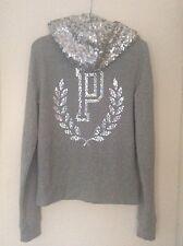 Women's Ladies Victoria's Secret Pink grey sequin hoodie size small 6-8 uk