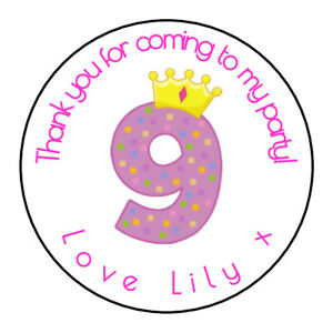 24 x Girls 4th Birthday Personalised Thank You Sticker Party Sweet Cone Age,Pink