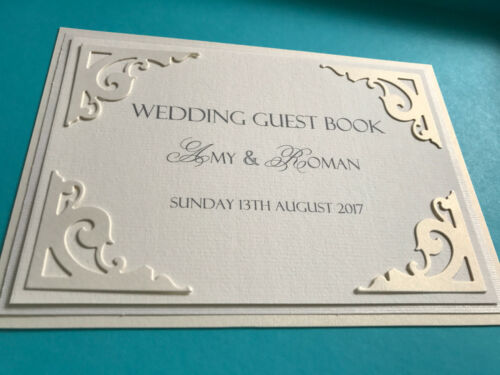 Personalised Wedding Guest Book sign white or ivory 5/'x7/'