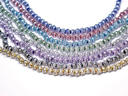 10 Stück #A22 Großlochperlen Aluminium Perlen rund