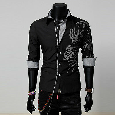 Great Men's Long Sleeve Dragon Design Shirt Slim Fit Casual/Dress Shirt Black