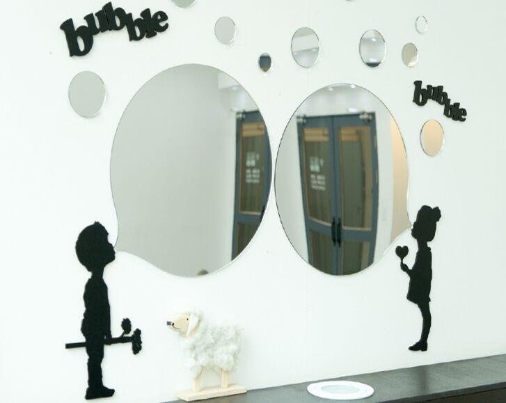 NEW 1SET - 17pcs Round Acrylic Bubble Mirror Wand Home Decor Interior Design
