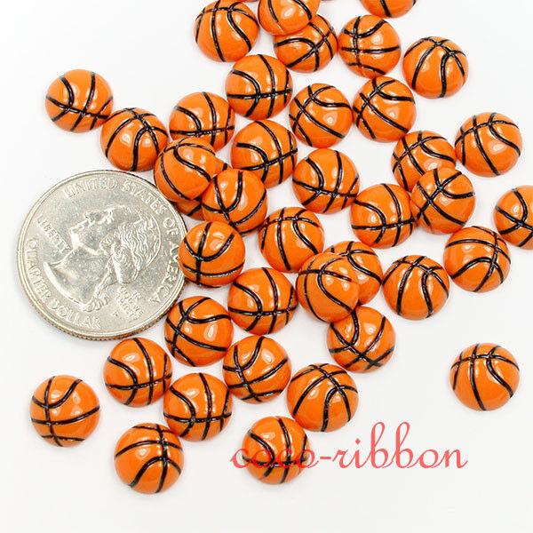 Tiny 10mm 20pcs Basketball Ball Cheer Decoration Flatback Resin Cabochons C35