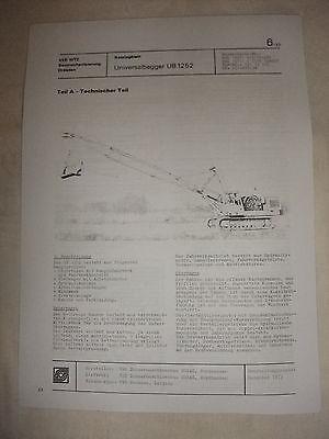 Literatur Ddr Werbung Reklame Prospekt Datenblatt Universalbagger Ub 1252 Veb Nobas 1979 Knitterfestigkeit Ddr