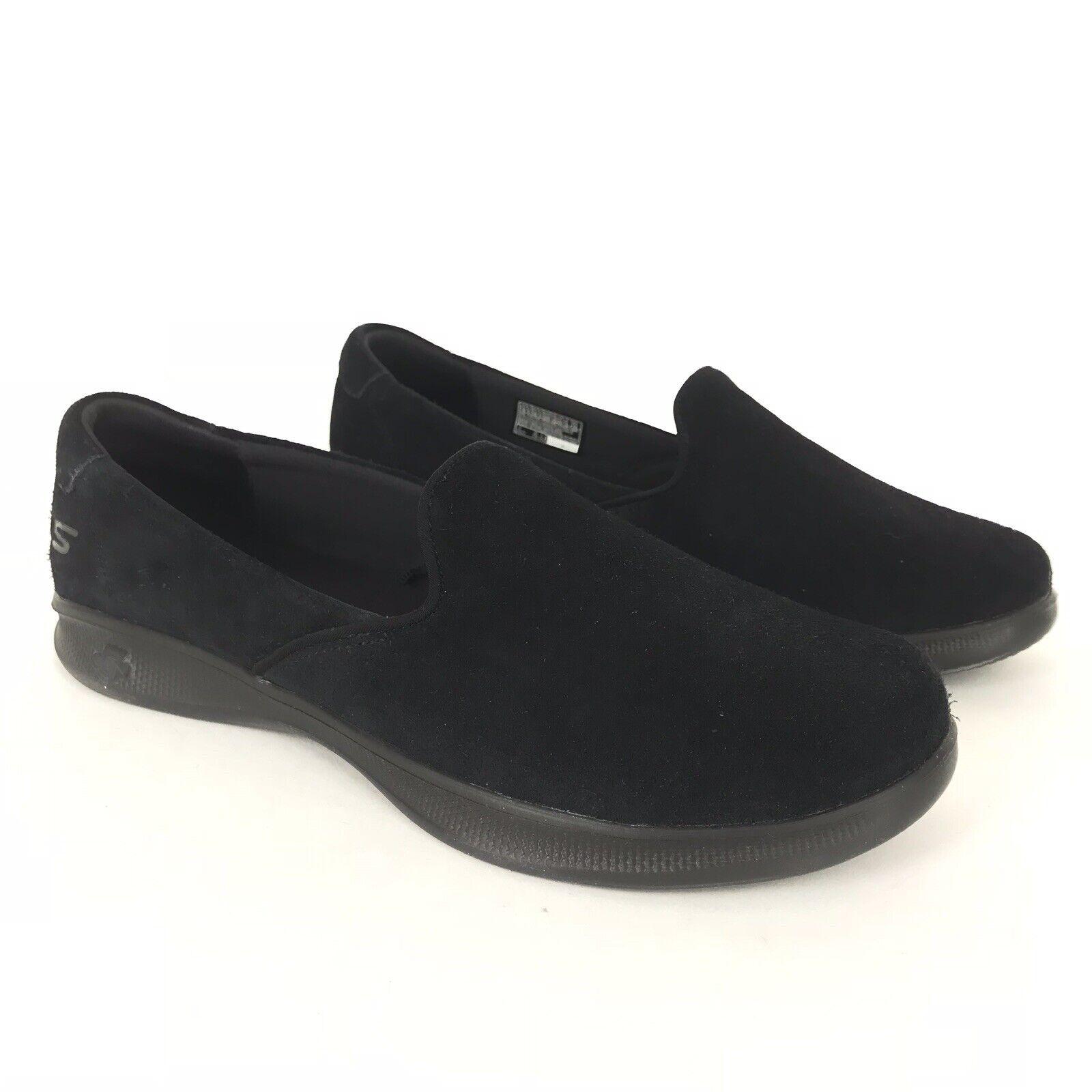 Skechers  9.5 M Black Delight GOstep Lite Suede Slip On shoes