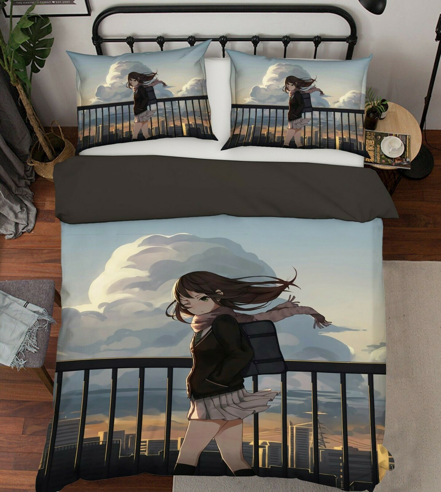 3D Clouds Girl 9188 Japan Anime Bed Pillowcases Quilt Duvet Cover Double Wendy
