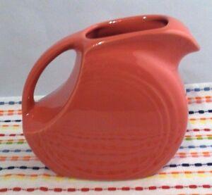 Image is loading Fiestaware-Flamingo-Juice-Pitcher-Fiesta -Retired-Small-Pink- & Fiestaware Flamingo Juice Pitcher Fiesta Retired Small Pink Disc ...