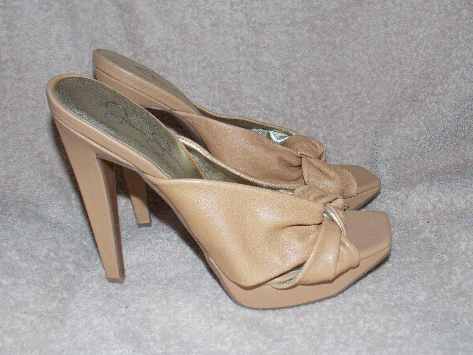 Jessic Simpson Tan Leather SALLY HONEY Tan Heels 8.5B Women Used