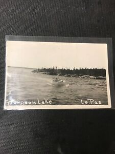 real-photo-Postcard-Sturgeon-Lake-Le-Pas-Cargo-Boat-With-Supplies-amp-KidsBoat-A1