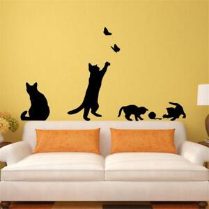Wandtattoo-Wohnzimmer-Wandtatoo-Aufkleber-Flur-Katze-spielen-Katzen-ss