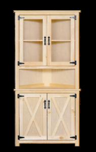 Amish Unfinished Barn Door Corner Hutch China Cabinet Modern Farmhouse Handmade Ebay