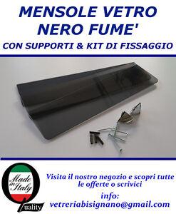 Mensole Vetro Su Misura.Dettagli Su Mensole Vetro Nero 55 X 12 Da 6 Mm Con Kit Di Fissaggio Disponibile Su Misura
