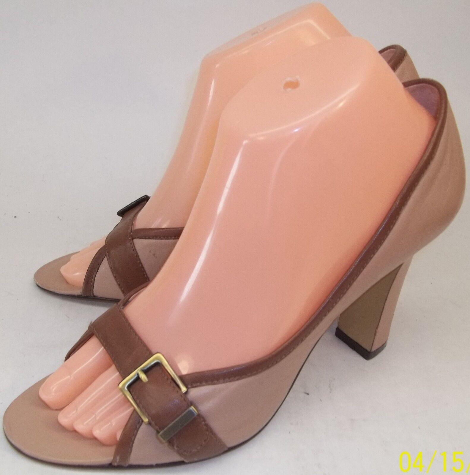 Enzo Angiolini Alberta Wos US7.5M Brown Beige Leather Slip-on Open Toe Heels 424