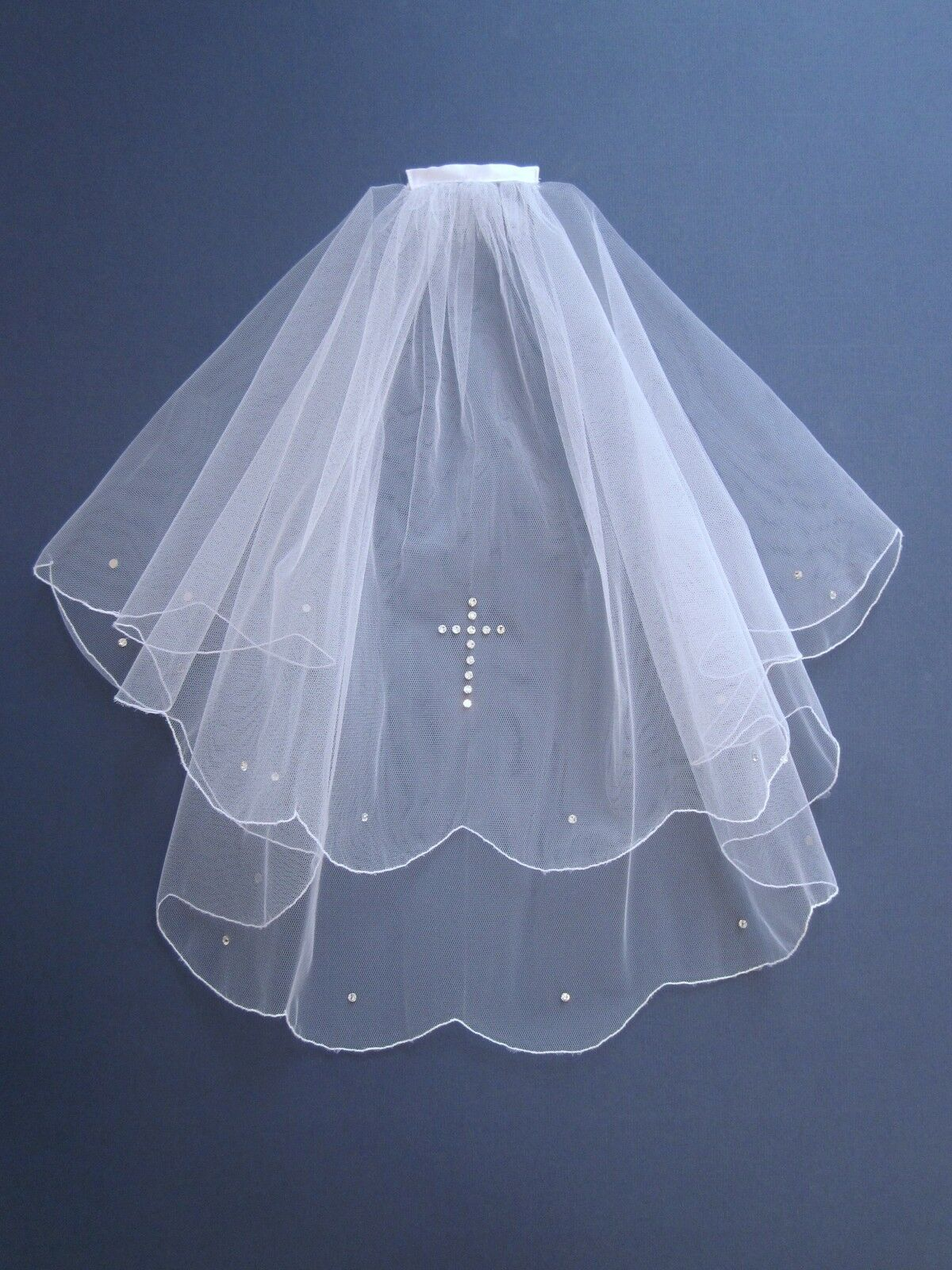 Communion / Confirmation Veil White made with Swarovski Diamante