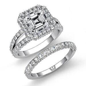 Asscher-Diamante-Halo-Novia-Compromiso-Set-Anillo-GIA-i-VS2-14k-Oro-Blanco