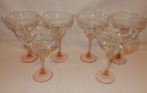 Set of 6 Pink Stem Optic Textured Margarita Goblets Cocktail Party Glass France