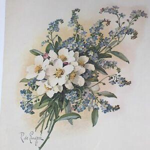 Paul-De-Longpre-Vintage-Art-Print-Flower-Bouquet-Roses-Forget-Me-Not-Delongpre