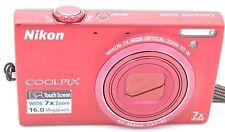 Nikon Coolpix S6100 16.0MP 3'' SCREEN 7X DIGITAL CAMERA RED W/ BATTERY
