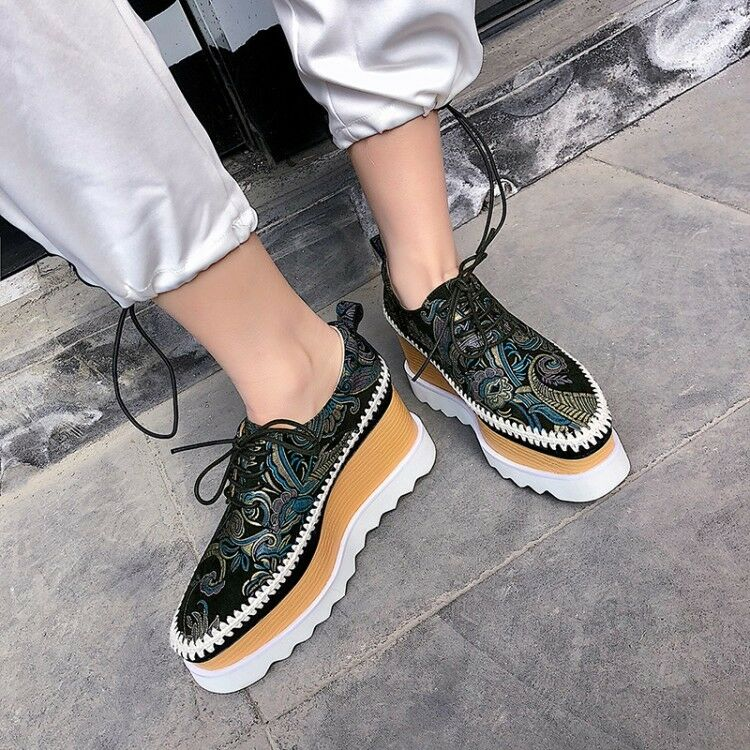 donna Fashion Flowers Lace Up Wedge Mid Heels Platform scarpe Creeper pumps hot