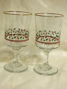 1987 Arbys Libbey Gold Rimmed Christmas Tree Winter Etched Wine Glasses Goblets