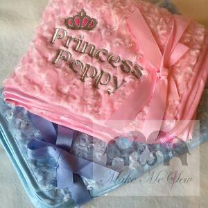 LUXURY Personalised Rose-Swirl Fluffy PRINCESS PRINCE BABY BIRTH BLANKET newborn
