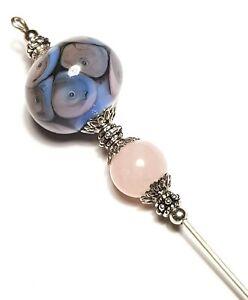 "Six Inch 6/"" Silver Blue Hat Pin Handmade Glass Bead Hatpin Hats Brooch"