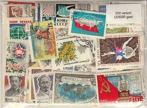 200-verschiedene-Briefmarken-UDSSR-CCCP-Russland-Sowjetunion-gest