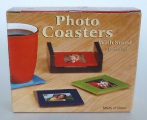 Boxed Set Of Four Glass Photo Coasters W Stand Insert Your Own