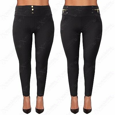 Offizielle Website New Ladies Plus Big Size Jeggings Womens Black Stretch Leggings Zip Button Pants
