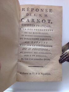 1798, Réponse de CARNOT à Conjuration 18 FRUCTIDOR (BONAPARTE) RÉVOLUTION LAZARE