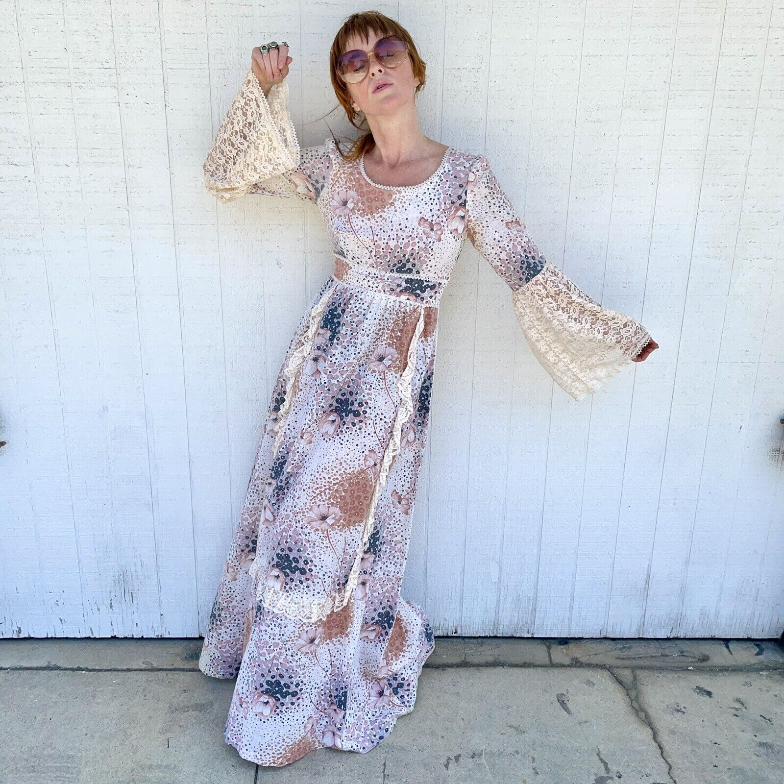 Vintage 70s Floral Maxi Dress Lace Sleeves Fairyc… - image 5