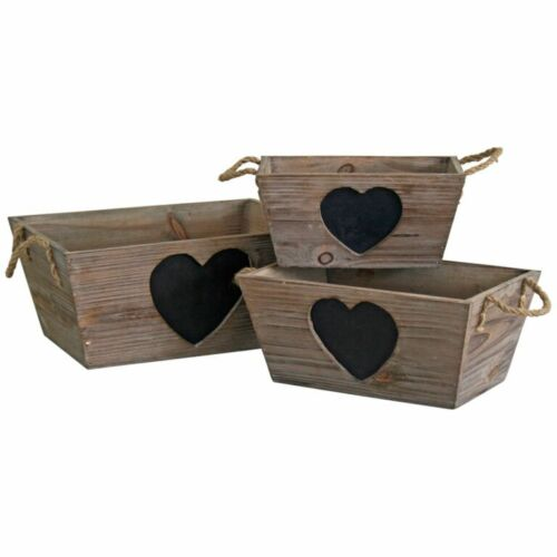 French Vintage Wooden Trug Storage Box Shabby Crate Chalkboard Heart Weddings